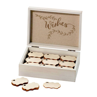 White Wooden Wishes Box