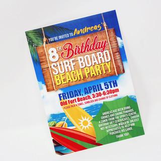 Beach Party Themed Birthday Invitation