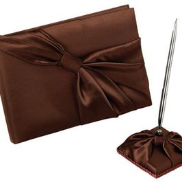 Brown Satin Guest Book & Pen Set