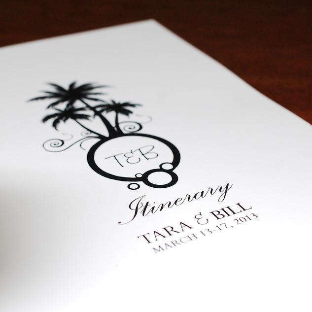 Custom monogram on your itinerary