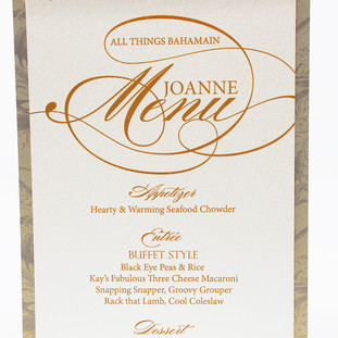 Menus personalized with Guest Name
