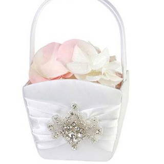 Elegant White Jeweled Flower Girl Basket