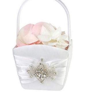 Elegant White Jeweled Flower Girl Basket
