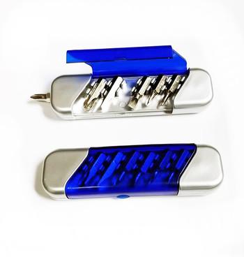 NEW - Convenient Pocket Tool Screwdriver with 6 Bits – Blue Cover