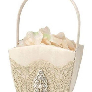 Vintage Gold Lace Flower Girl Basket