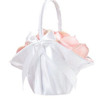 Large White Satin Flower Girl Basket