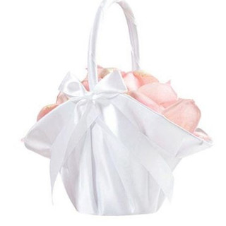 Large White Satin Flower Girl Basket