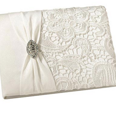 Vintage Cream Lace Guest Book