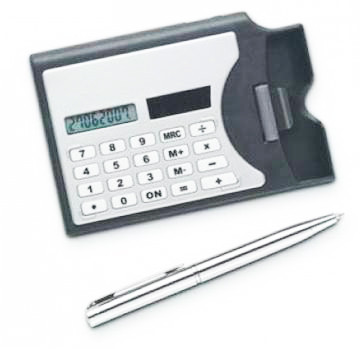 3 In 1 Multi-Function Solar Powered Calculator, Pen & Business Card Holder