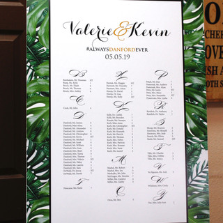 Stunning Seating Chart with a tropical twist