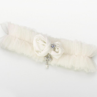 Ivory Tulle Garter with Jewel