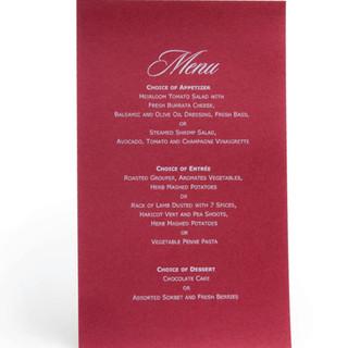 White Printing Menu Card