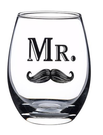 Mr. Stemless Wine Glass with Mustache
