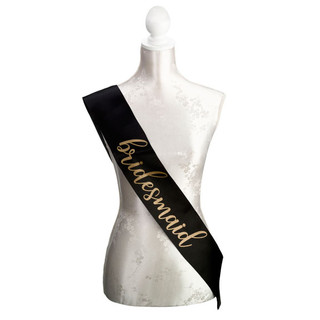Black & Gold Bridesmaid Sash