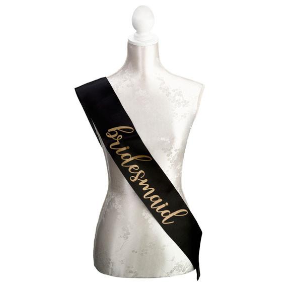 Black & Gold Bridesmaid Sash