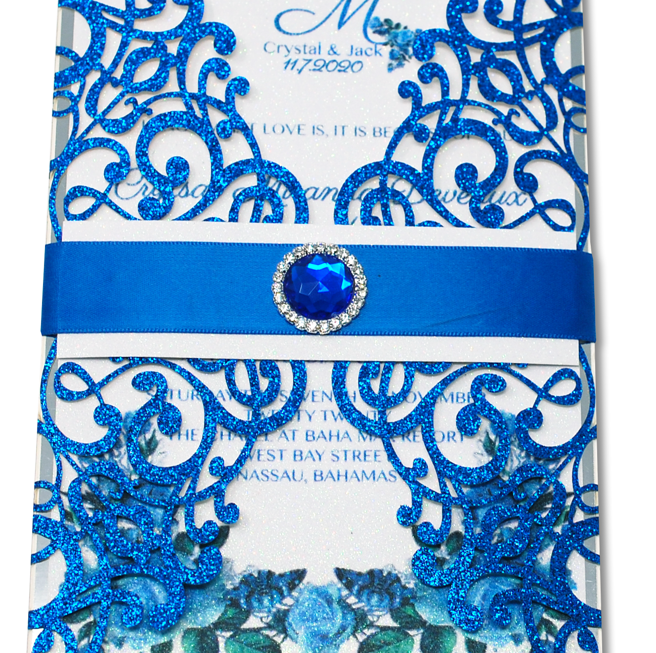 Blue Lasercut Invitation. Click the link to see more of our lasercut envelopes.