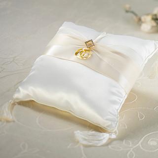 Ivory Diamond Satin Ring Pillow