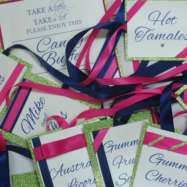 Green, Hot Pink, Navy Blue Tags