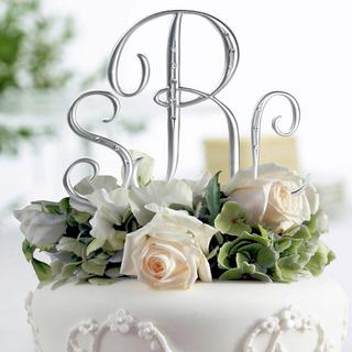 Silver Rhinestone Monogram Letter Cake Topper