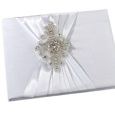 Elegant White Jeweled Guest Book