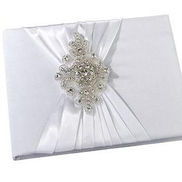 Elegant White Jeweled Guest Book