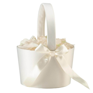 Large Cream Flower Girl Basket