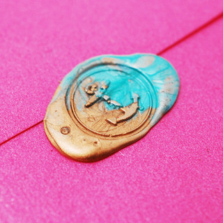 Hot Pink Envelope with Multicoloured Wax Seal