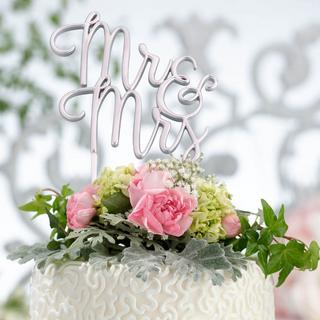 Silver Mr. & Mrs. Wedding Cake Topper