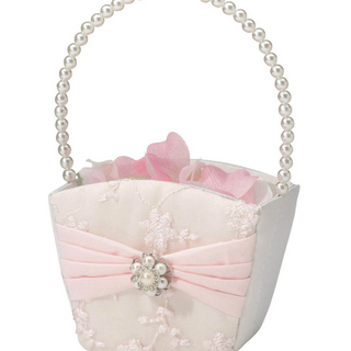 Vintage Blush Rhinestone Flower Girl Basket
