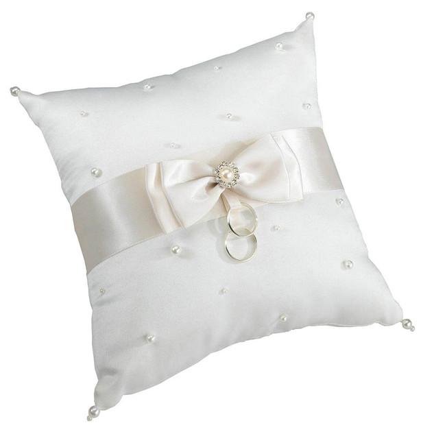 Ivory Scattered Pearl Ring Bearer Pillow