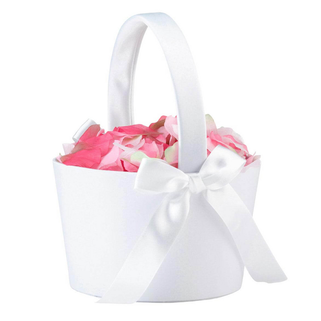 Large White Flower Girl Basket
