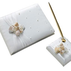 Coastal Seashell Guest Book & Pen Set
