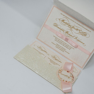 Pink and Ivory Embossed Jackets & Pockets Invitation