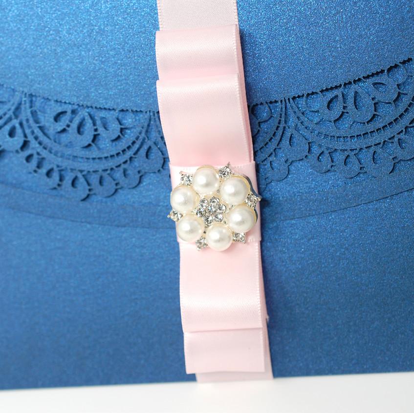 Pink Satin Ribbon with Pearl Brooch
