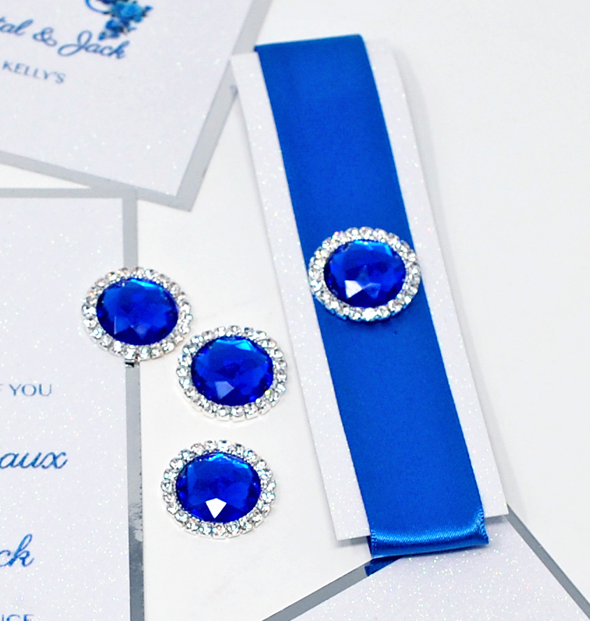 Royal Blue Ribbon with Rhinestone Brooch. Click the link to see more brooches.