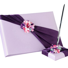 Lavender & Plum Flower Guest Book & Pen Set