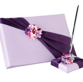 Lavender & Plum Flower Guest Book & Pen Set
