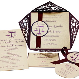 Invitation Set of a Lasercut Pouchette