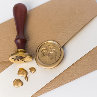 Palm Tree Wax Seal & Stamp on Rustic Envelope