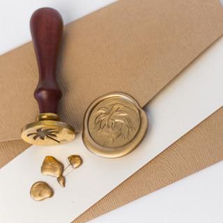 Palm Tree Wax Seal & Stamp on Rustic Envelope