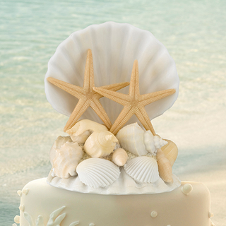 Coastal Seashell Wedding Cake Topper