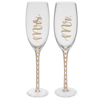 Gold Mr. & Mrs. Toasting Flutes