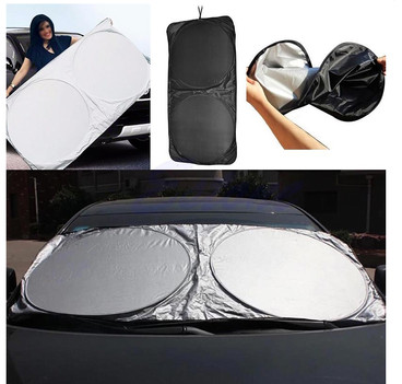 NEW - Silver Folding Jumbo Front/Rear Car Window Sun Shade Auto Visor Windshield Block Cover