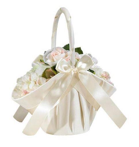 Large Ivory Satin Flower Girl Basket