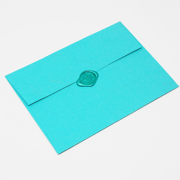 Turquoise Envelope with Turquoise Wax Seal