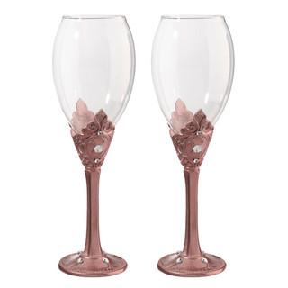 Rose Gold Wine Glass Set White Backgroun
