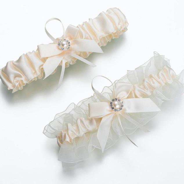 Elegant Ivory Satin and Tulle Garter Set