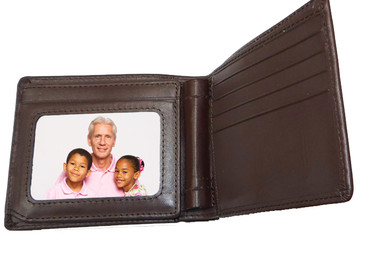 NEW - Genuine Leather Men's Brown Bi-fold Wallet with 2 Window ID Holder