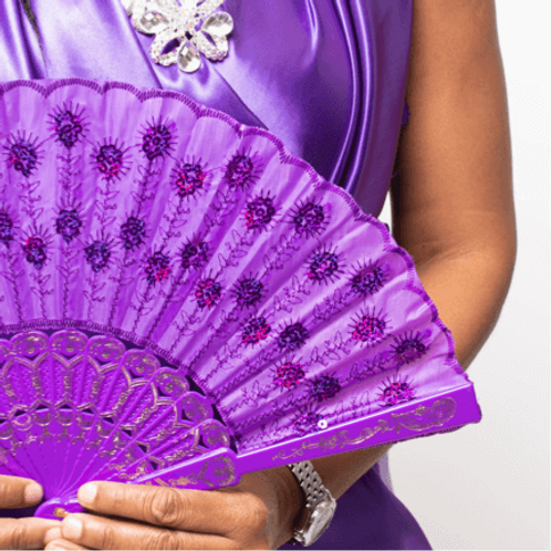 Sequin Flower Style Hand Fan