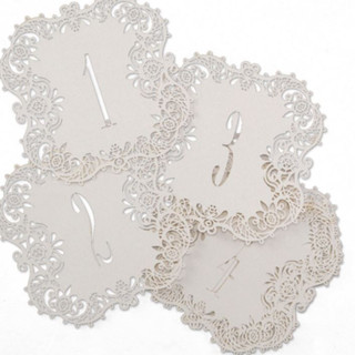 Laser-Cut - Table Number Cards - White Shimmer